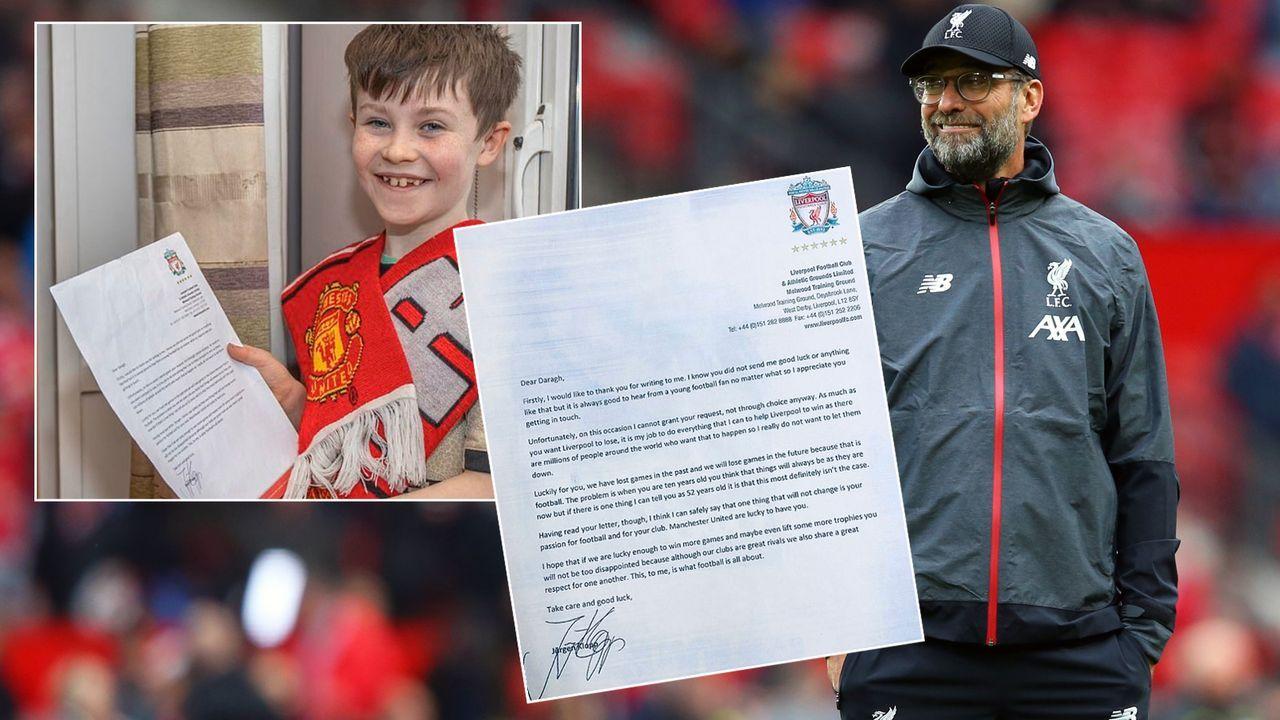 10-Jähriger mit kurioser Bitte: Klopp antwortet auf Brief von ManUtd-Fan - Bildquelle: Getty Images/twitter@DejayYella
