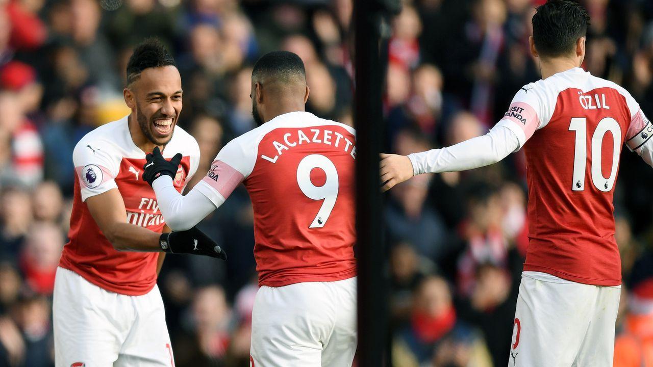 Pierre-Emerick Aubameyang, Alexande Lacazette, Mesut Özil (FC Arsenal) - Bildquelle: 2018 Getty Images