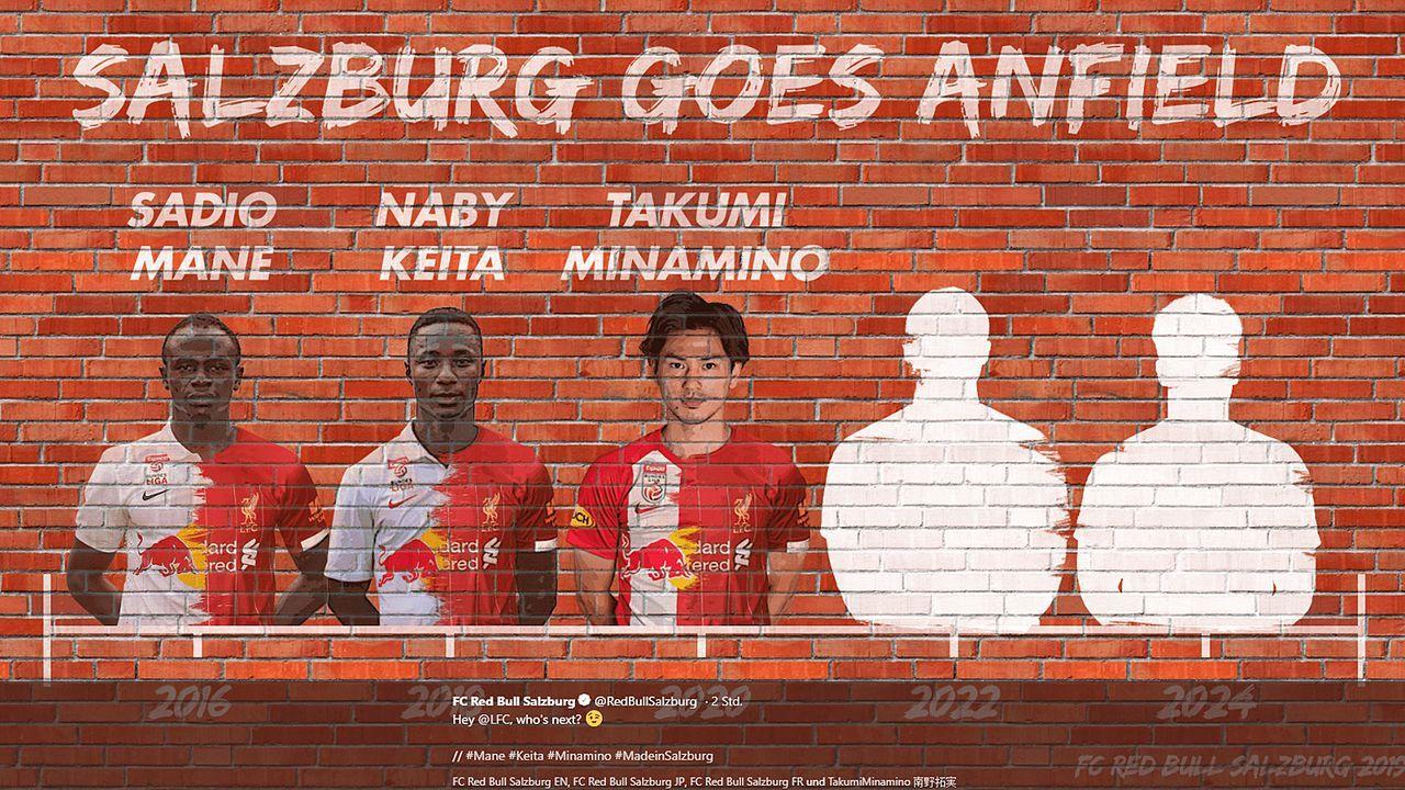 """""""Hey @LFC, who's next?"""": Salzburg bietet Liverpool nach Minamino-Deal wieder Star an - Bildquelle: twitter@RedBullSalzburg"""