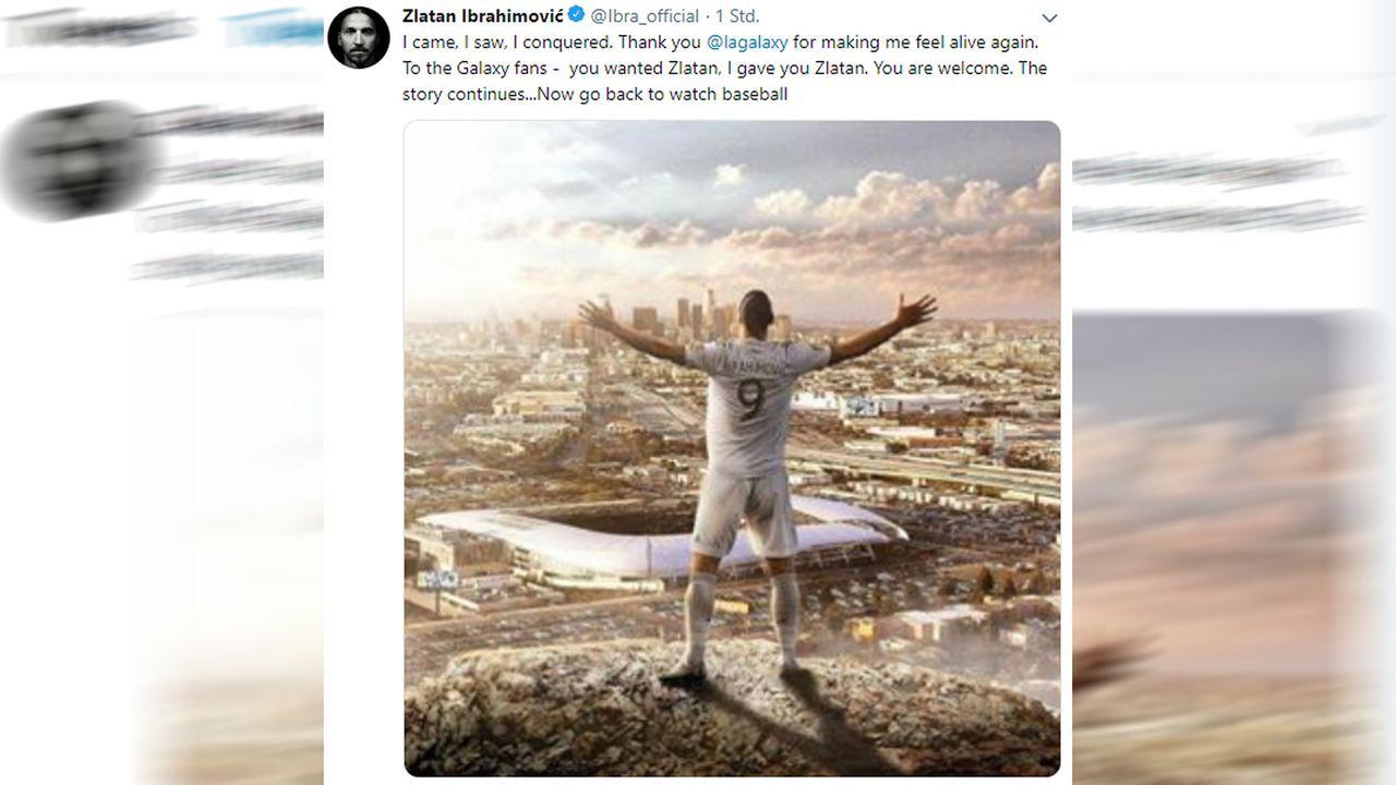 """""""Jetzt könnt ihr wieder Baseball gucken"""": Ibrahimovic verkündet Galaxy-Abschied - Bildquelle: twitter@Ibra_official"""