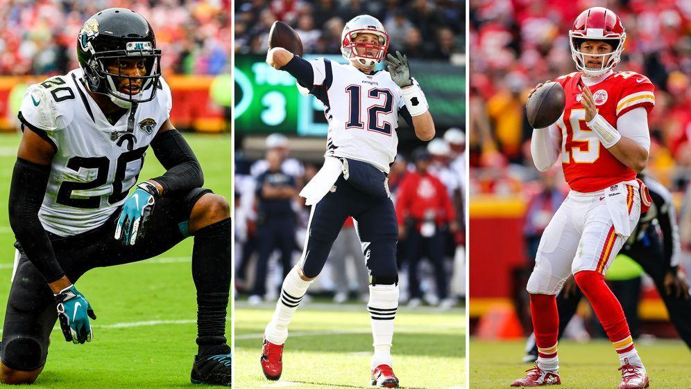 Jalen Ramsey (l.) wird die Postseason verpassen, Tom Brady (m.) und Patrick ...