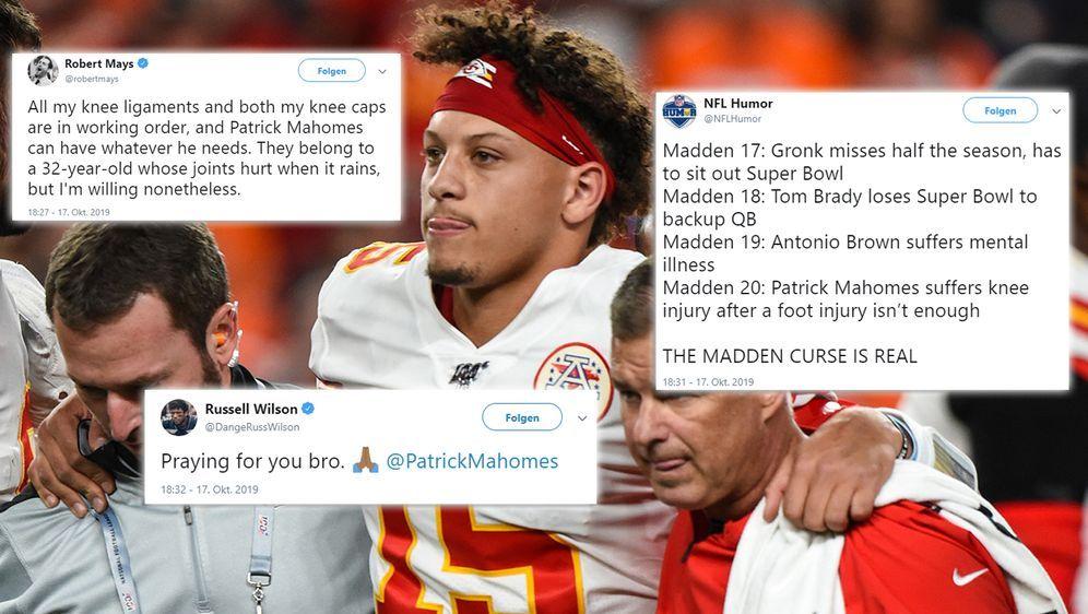 Patrick Mahomes ist verletzt - und das Netz reagiert heftig - Bildquelle: imago/Twitter