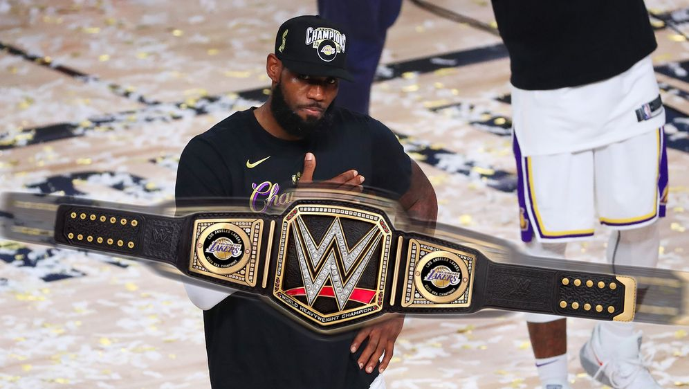 Die Los Angeles Lakers bekommen einen eigenen WWE-Gürtel. - Bildquelle: Getty Images/Twitter:TripleH