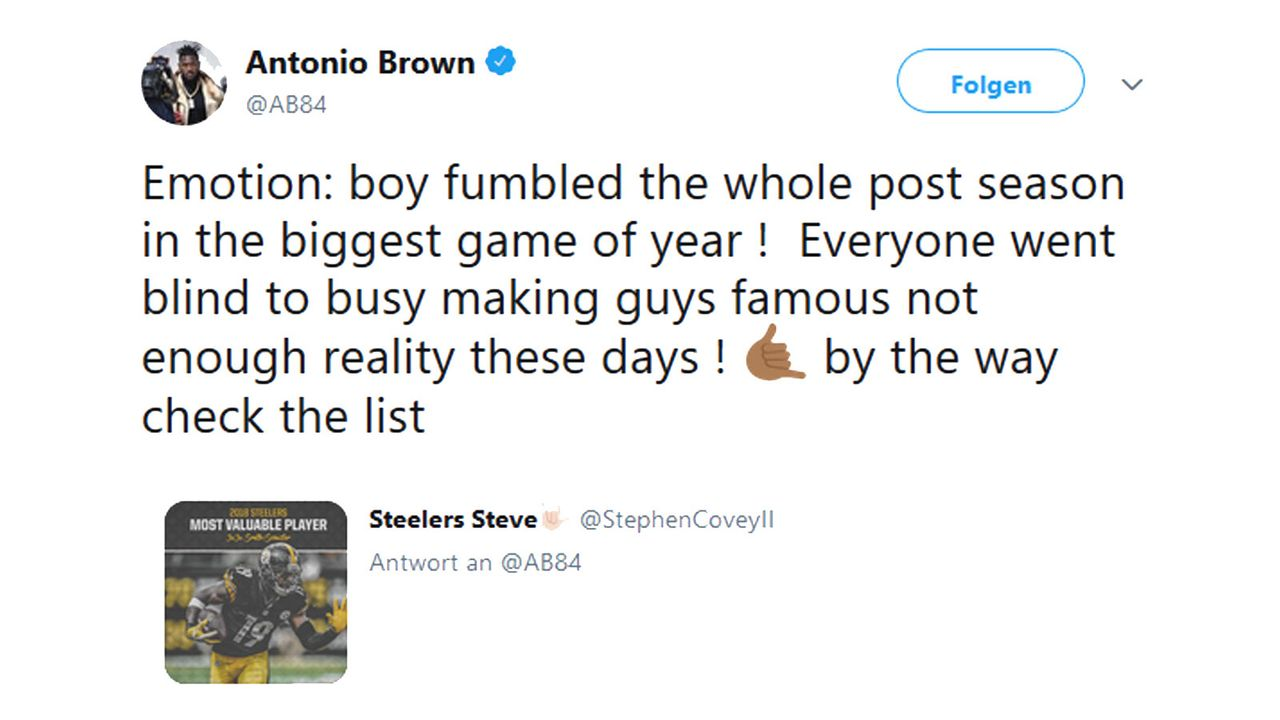 Antonio Brown disst JuJu Smith-Schuster - Bildquelle: twitter.com/AB84