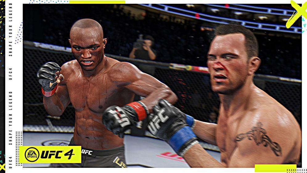 Screenshot aus UFC 4: Kamaru Usman (l.) und Colby Covington sind gut getroff... - Bildquelle: EA Sports