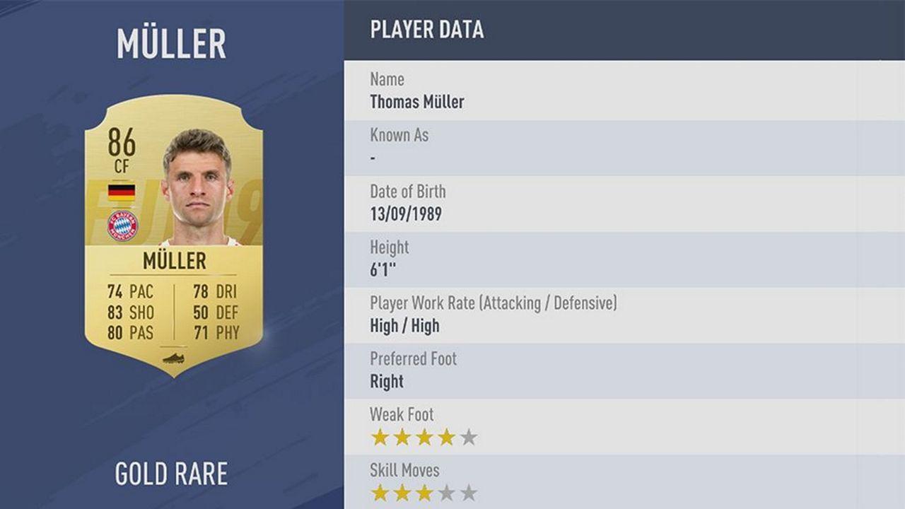 Thomas Müller - Rating: 86 - Bildquelle: EA Sports