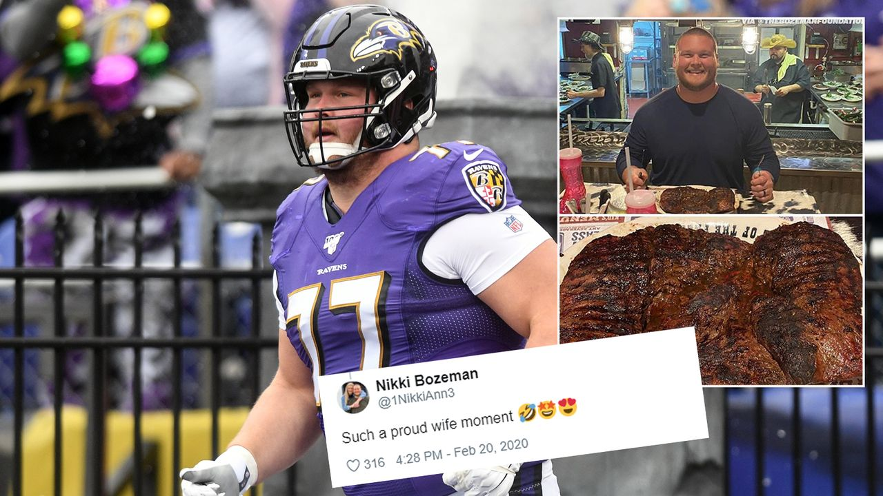 Ravens-Star Bradley Bozeman gewinnt bei Steak-Challenge - Bildquelle: imago/instagram@thecheckdown/twitter@1NikkiAnn3
