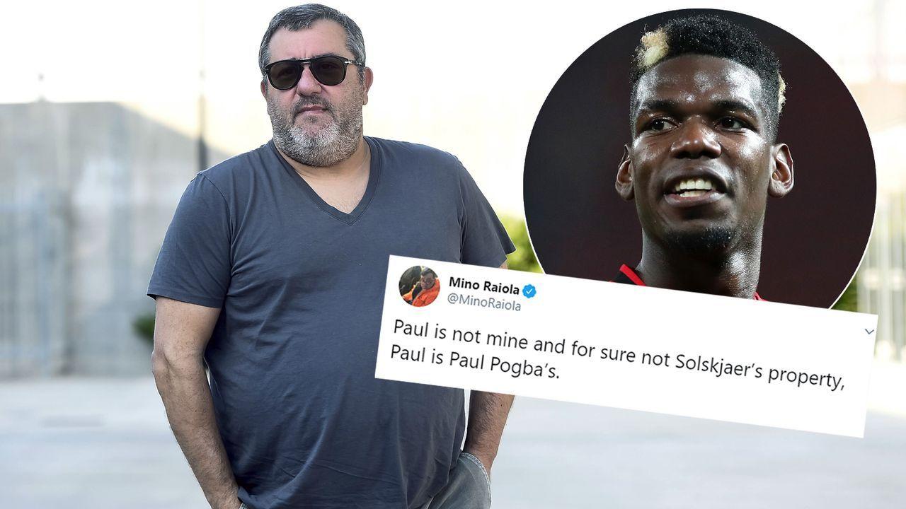 Pogba-Berater Mino Raiola sauer auf United-Coach Ole Gunnar Solskjaer - Bildquelle: Getty Images/Imago/twitter@MinoRaiola