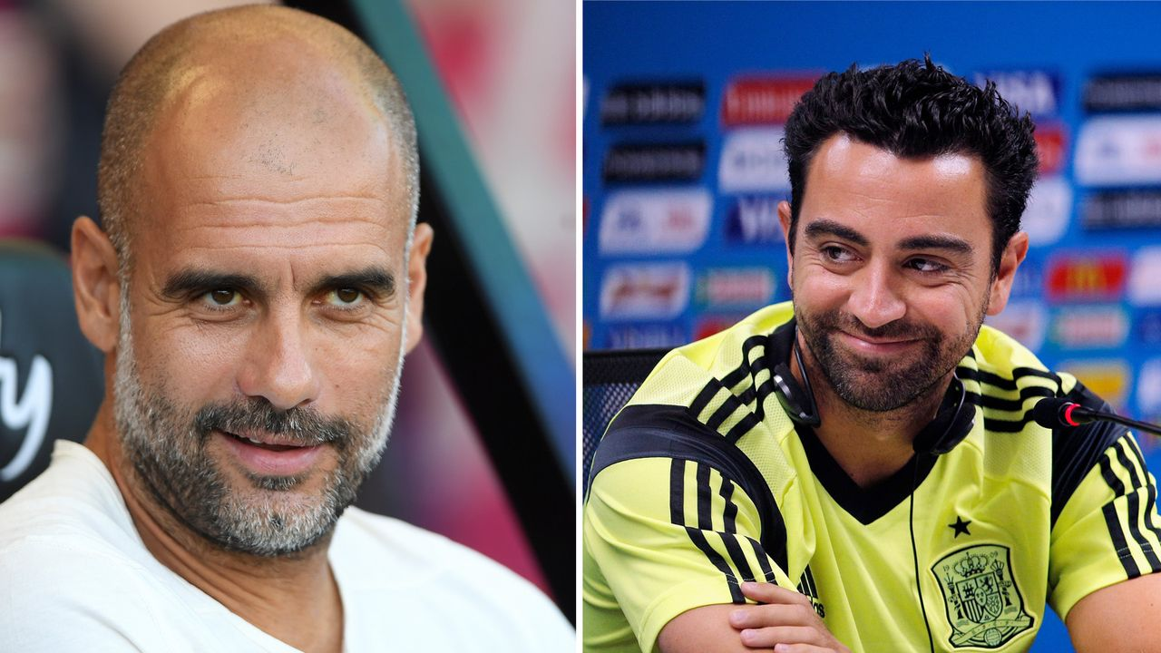 Pep Guardiola (Manchester City) und Xavi (Al Sadd) - Bildquelle: Imago / Getty