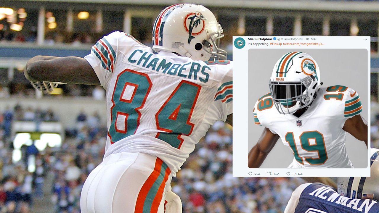 Für Spiel gegen Patriots: Miami Dolphins stellen Retro-Trikot vor  - Bildquelle: Getty/Twitter: @MiamiDolphins