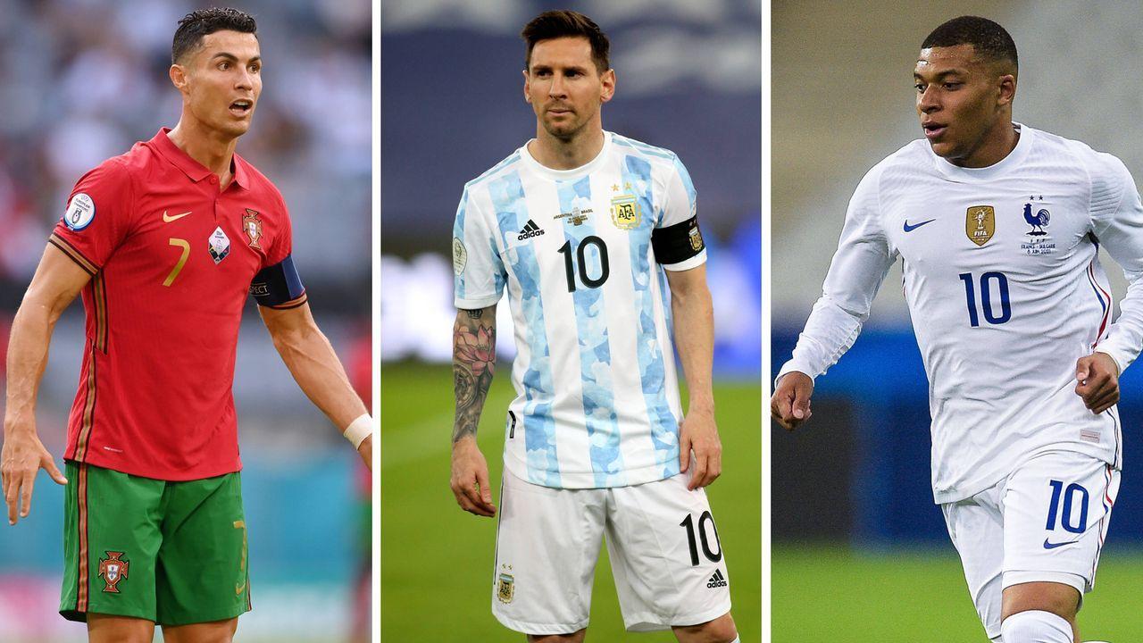 Cristiano Ronaldo, Lionel Messi und Kylian Mbappe  - Bildquelle: imago