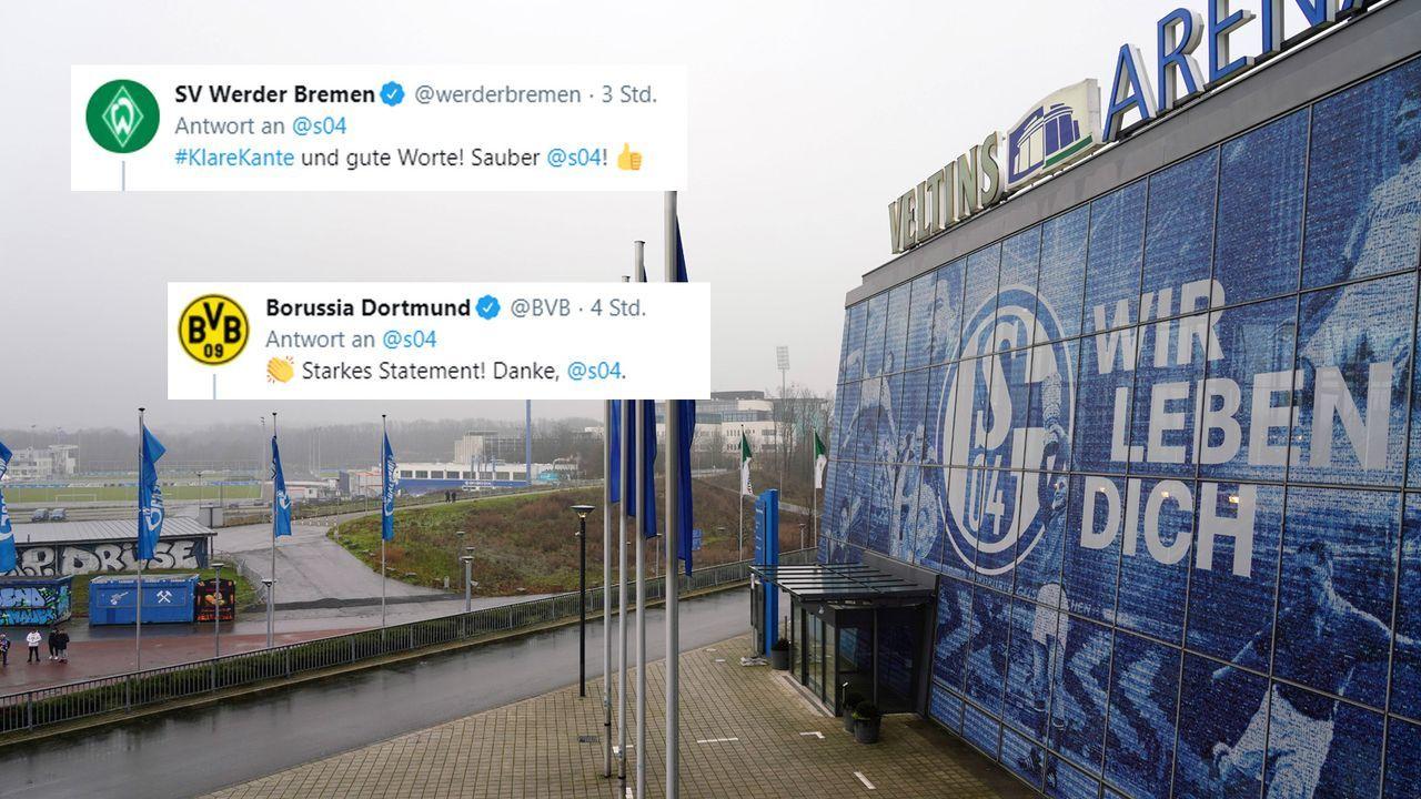 ... und erhält Unterstützung aus der Bundesliga  - Bildquelle: Peters/Witters/Pool via David Inderlied/Kirchner-Media / Screenshot: twitter @s04