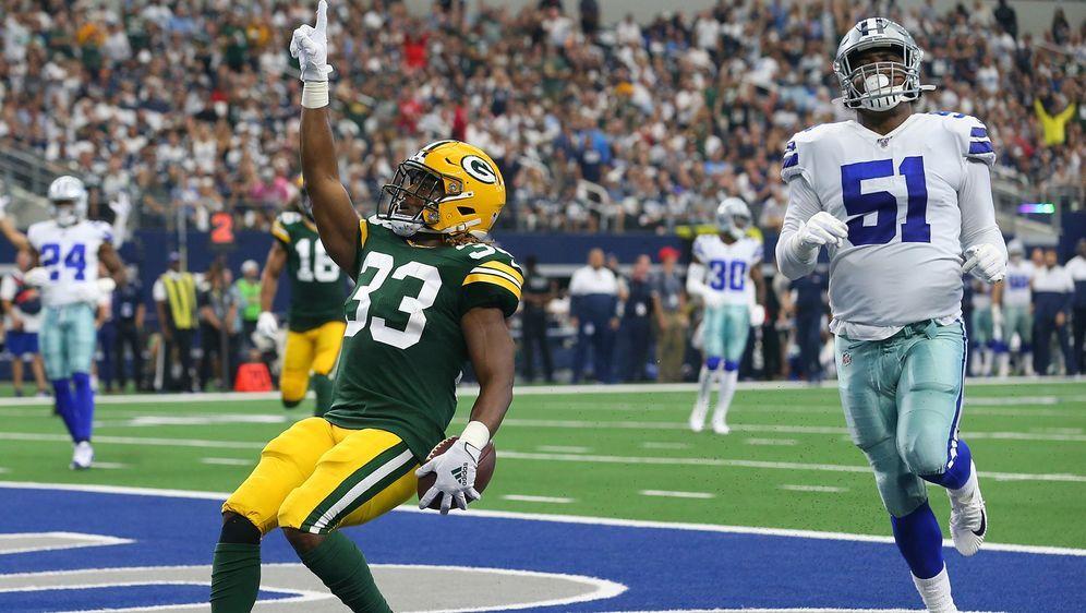 Running Back Aaron Jones gelangen gegen die Dallas Cowboys vier Touchdowns - Bildquelle: 2019 Getty Images