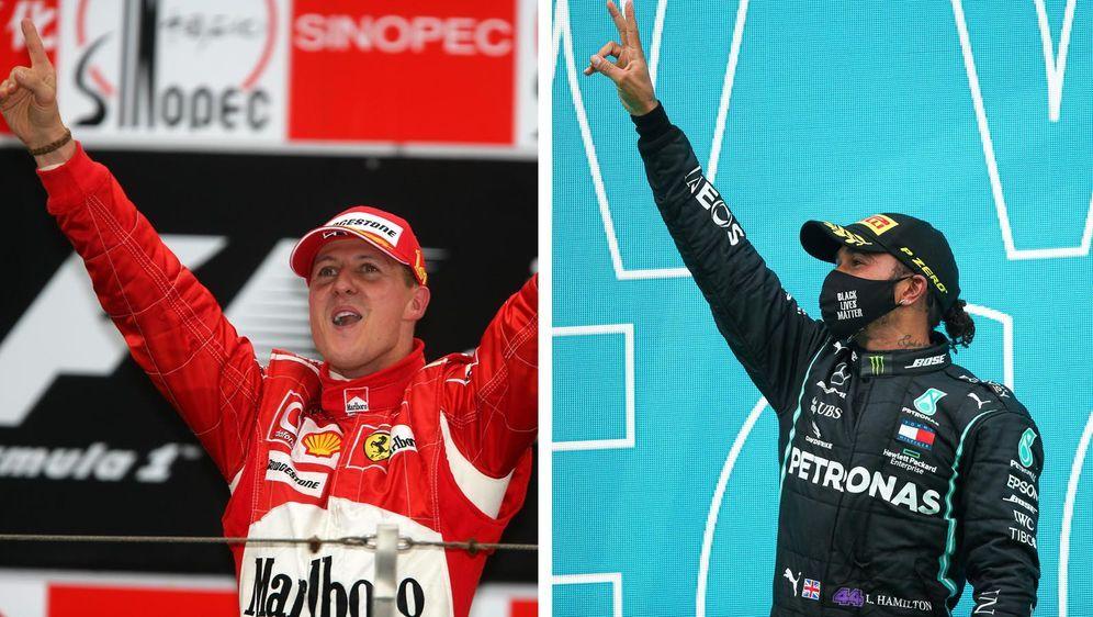 Lewis Hamilton (r.) hat den Siegrekord von Michael Schumacher (l.) gebrochen... - Bildquelle: imago