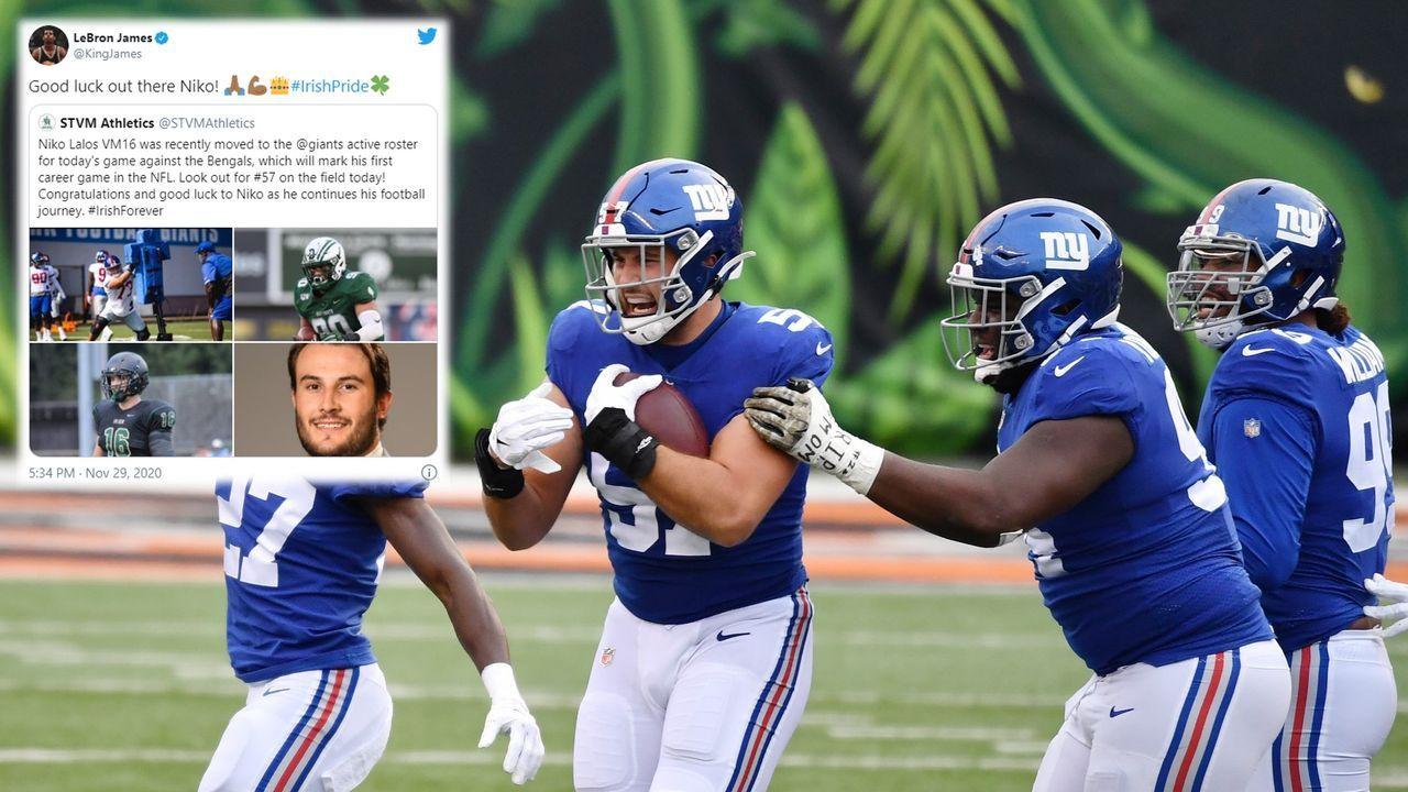 Bei NFL-Debüt für Defensive End: Deshalb feuert LeBron diesen Giants-Spieler an - Bildquelle: Getty Images/@KingJames