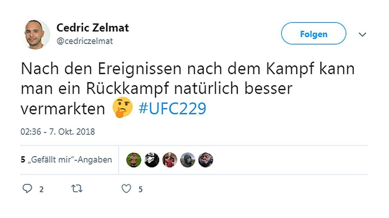 Netzreaktionen zum UFC-Fight Nurmagomedov vs. McGregor - Bildquelle: twitter@cedriczelmat
