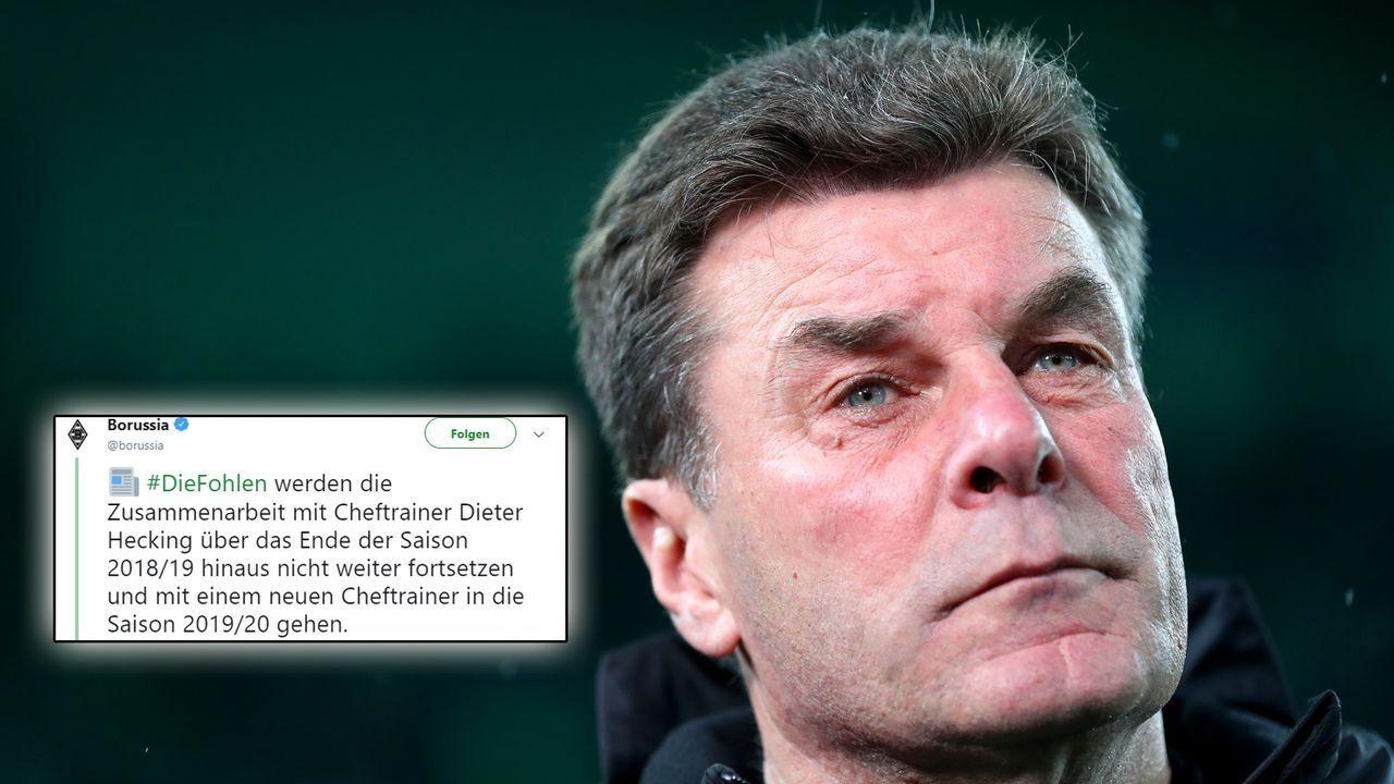 Borussia Mönchengladbach trennt sich zum Saisonende von Trainer Dieter Hecking - Bildquelle: Getty/https://twitter.com/borussia