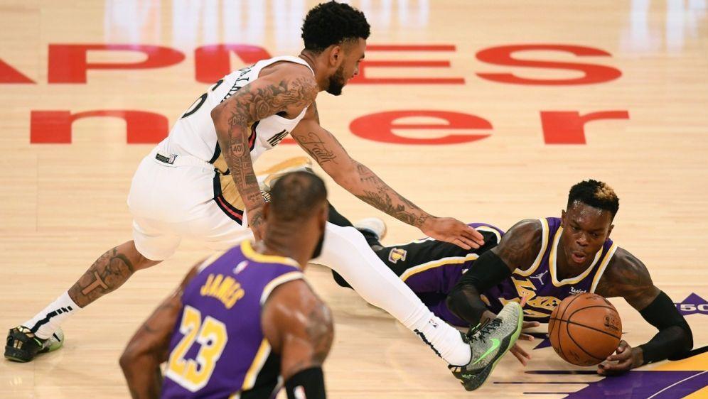 Schröder (r.) feierte mit den Lakers den fünften Sieg - Bildquelle: AFPGETTYSIDHarry How