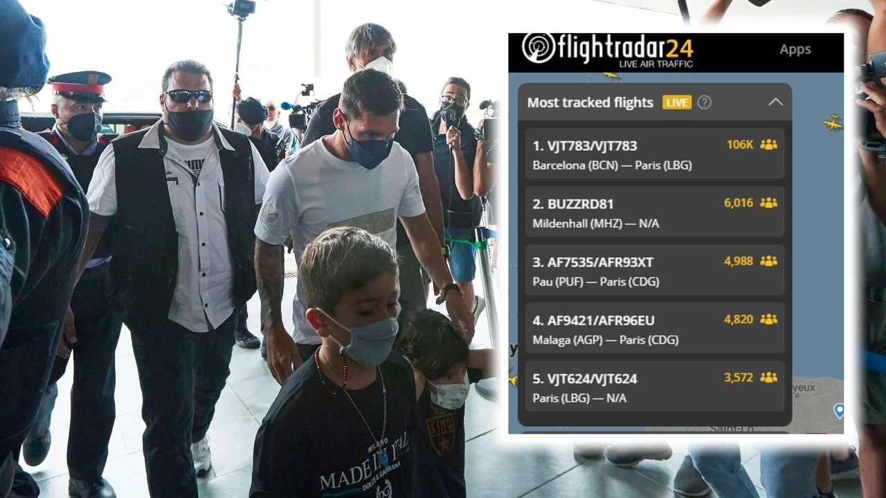 Messi-Wahnsinn: Über 100.000 Menschen verfolgen Flug nach Paris - Bildquelle: imago/flightradar24