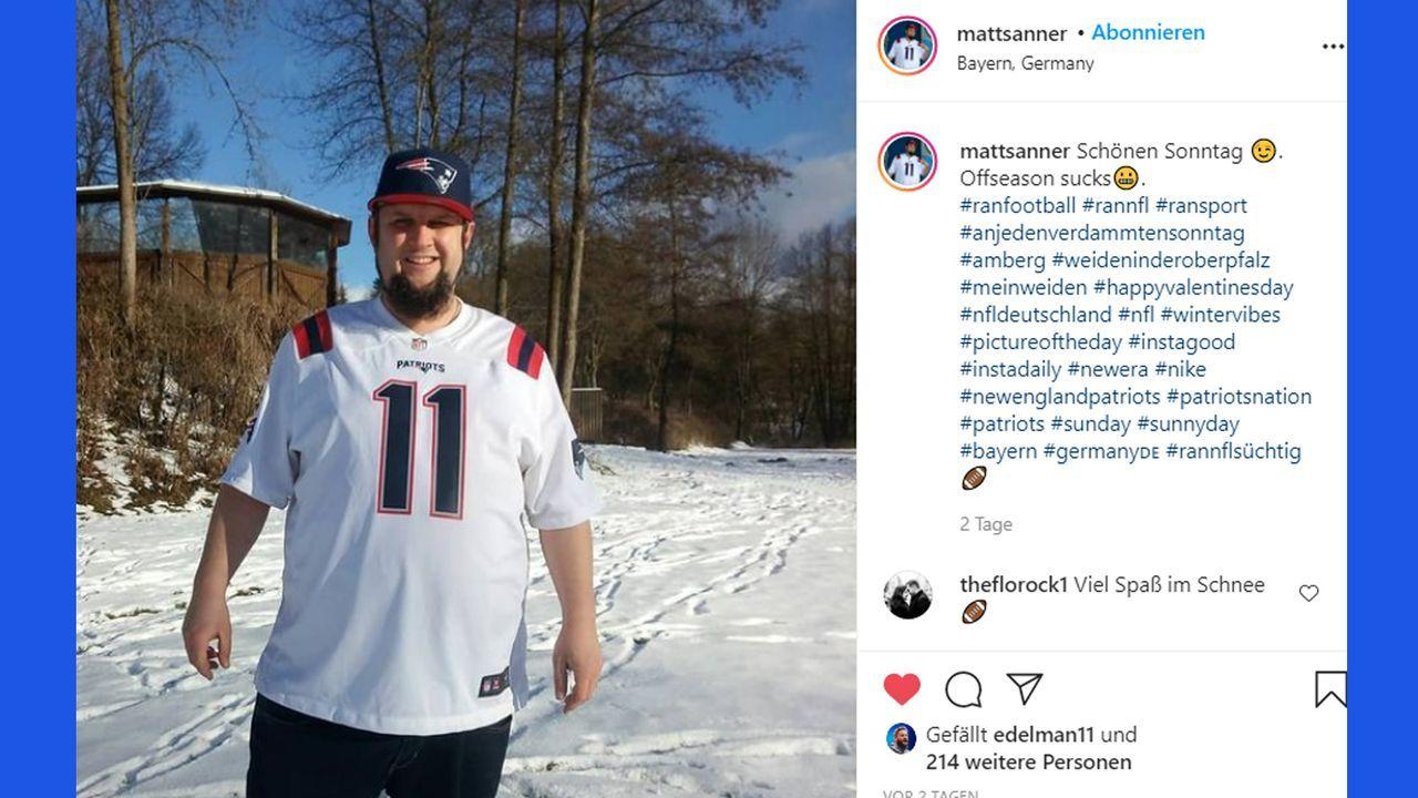 Julian Edelman feiert deutschen Fan - Bildquelle: Instagram: @mattsanner // edelman11