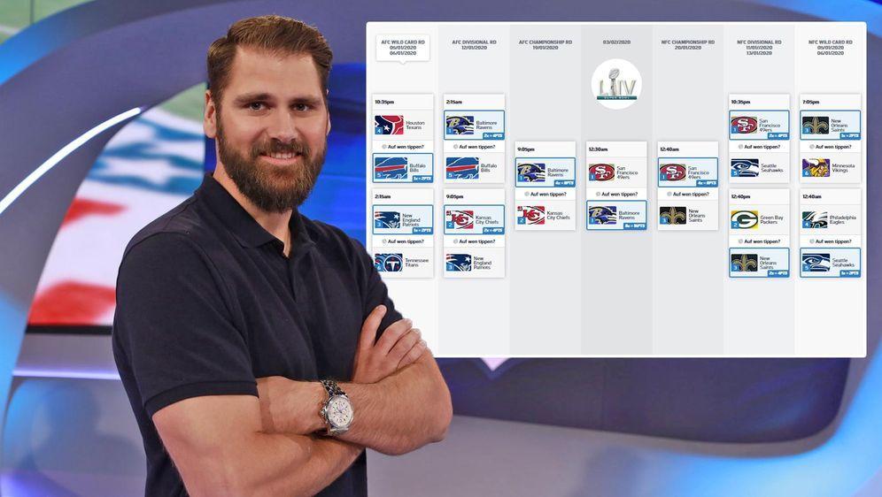 """Sebastian Vollmer tippt beim """"Road to Super Bowl""""-Tippspiel bei ran.de auf d... - Bildquelle: ProSieben MAXX / ran.de"""