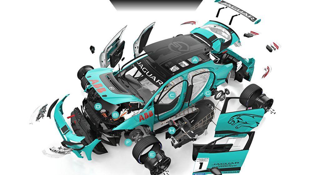 """Die """"zerlegte"""" Rennversion des Jaguar I-PACE."""