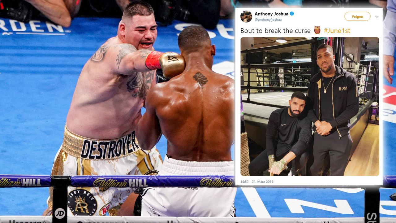 """About to break the curse"" ... oder auch nicht: ""Drake-Fluch"" trifft auch Anthony Joshua - Bildquelle: imago/https://twitter.com/anthonyfjoshua/status/1108848954807066625"