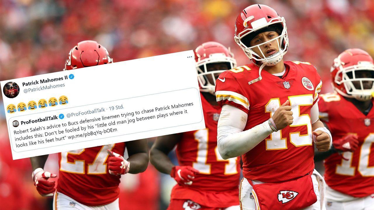 """Altherren-Traben"": Patrick Mahomes lacht über Super-Bowl-Tipp von Robert Saleh - Bildquelle: Getty Images/twitter.com/PatrickMahomes"