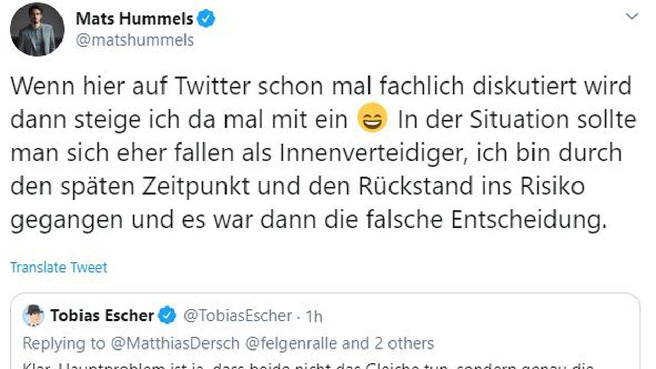 Hummels nimmt Schuld auf sich - Bildquelle: twitter.com/matshummels