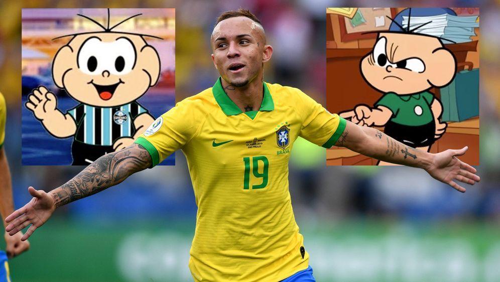 """Original und menschliches Ebenbild: Der Comicfigur """"Cebolinha"""" wird bereits ... - Bildquelle: imago, Twitter/@Cebolinhaaa, Twitter/@ReidoSul1"""