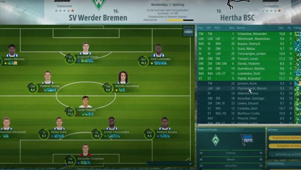 Der Aufstellungsbildschirm von We Are Football dürfte bei Fans von Anstoss o... - Bildquelle: YouTube@THQNordic