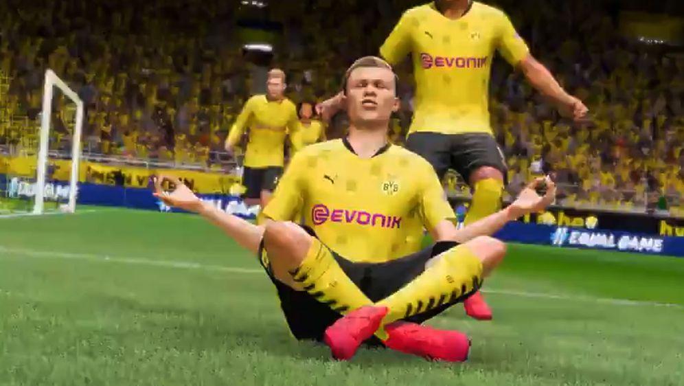 """Auch der """"Peace""""-Jubel von Erling Haaland wird in FIFA 21 zu sehen sein. - Bildquelle: Twitter/EA Sports"""