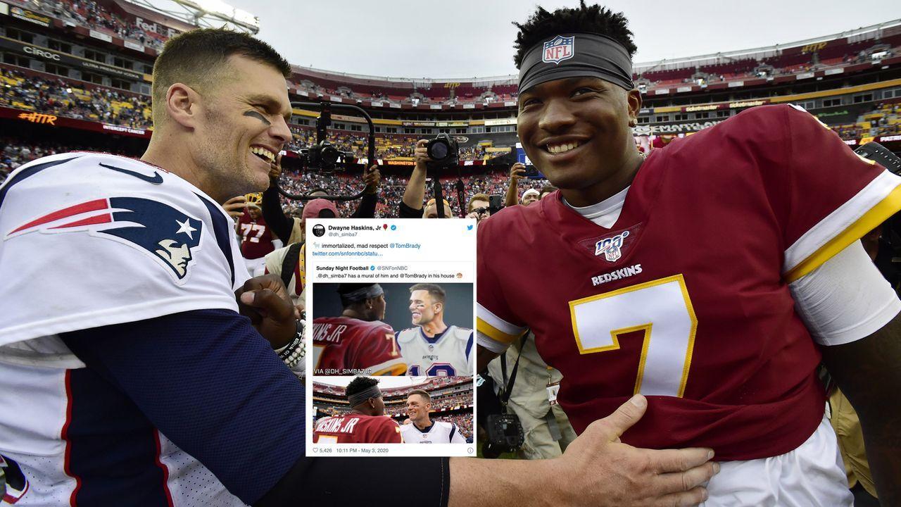 Redskins-Quarterback Dwayne Haskins: Treffen mit Tom Brady als Gemälde - Bildquelle: imago images/UPI Photo