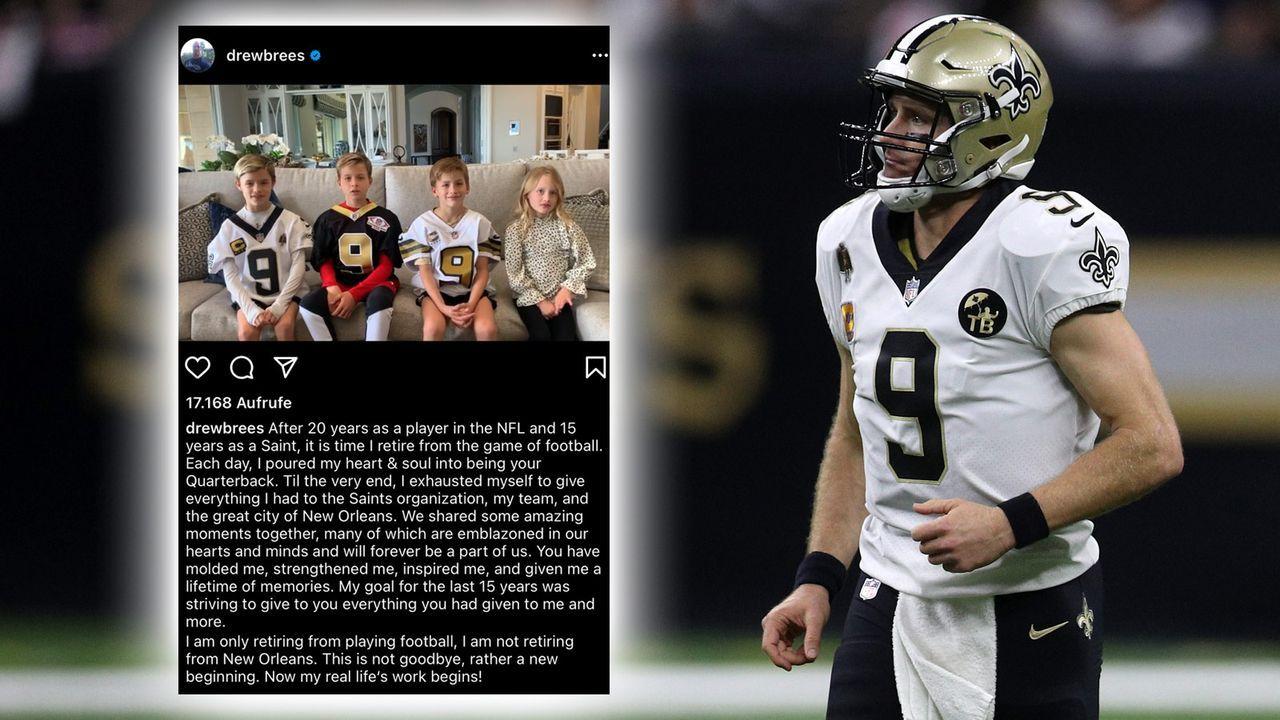 15 Jahre nach Unterschrift in New Orleans: Drew Brees verkündet Karriereende - Bildquelle: Getty Images/instagram.com/drewbrees