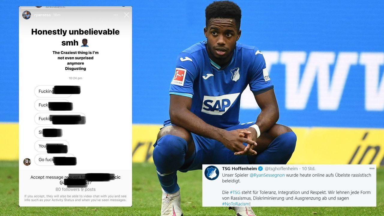 """Sessegnon veröffentlicht rassistische Beleidigungen auf Instagram - """"Klare Kante gegen Rassismus"""" - Bildquelle: Imago Images/Twitter @tsghoffenheim"""