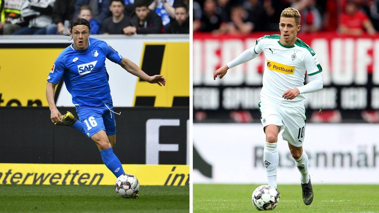 Nico Schulz (Hoffenheim) und Thorgan Hazard (Mönchengladbach)