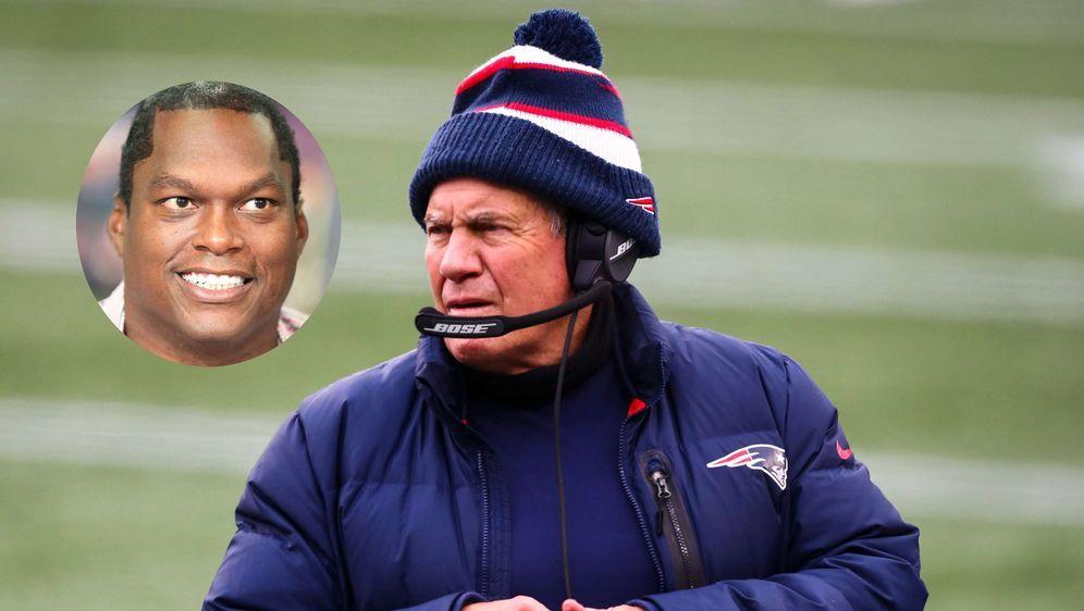 LaVar Arrington (l.) zählt Patriots-Coach Bill Belichick (r.) an. - Bildquelle: getty