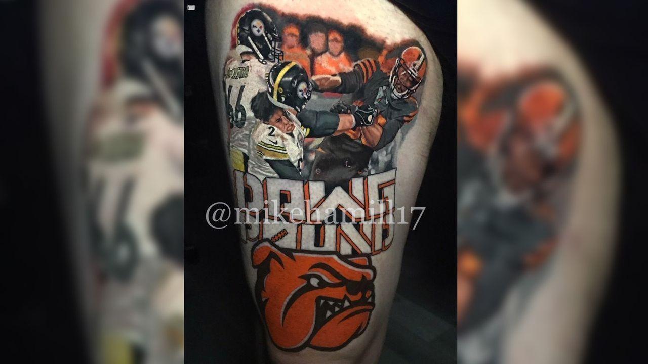 Browns-Fan lässt sich Garretts Helm-Attacke gegen Rudolph tätowieren - Bildquelle: Instagram/mikehamill17