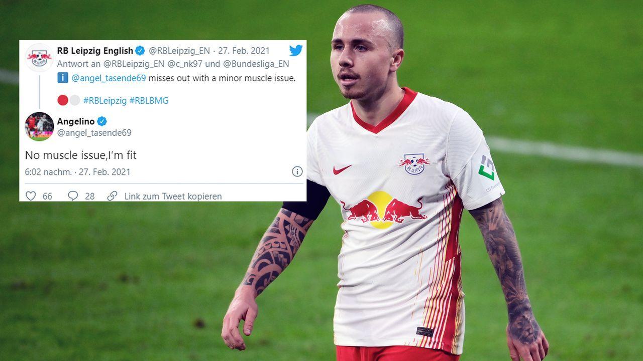 """""""Ich bin fit"""": Verwirrung um Leipziger Verletzungsmeldung zu Angelino - Bildquelle: Getty Images/twitter@RBLeipzig_EN/twitter@angel_tasende69"""