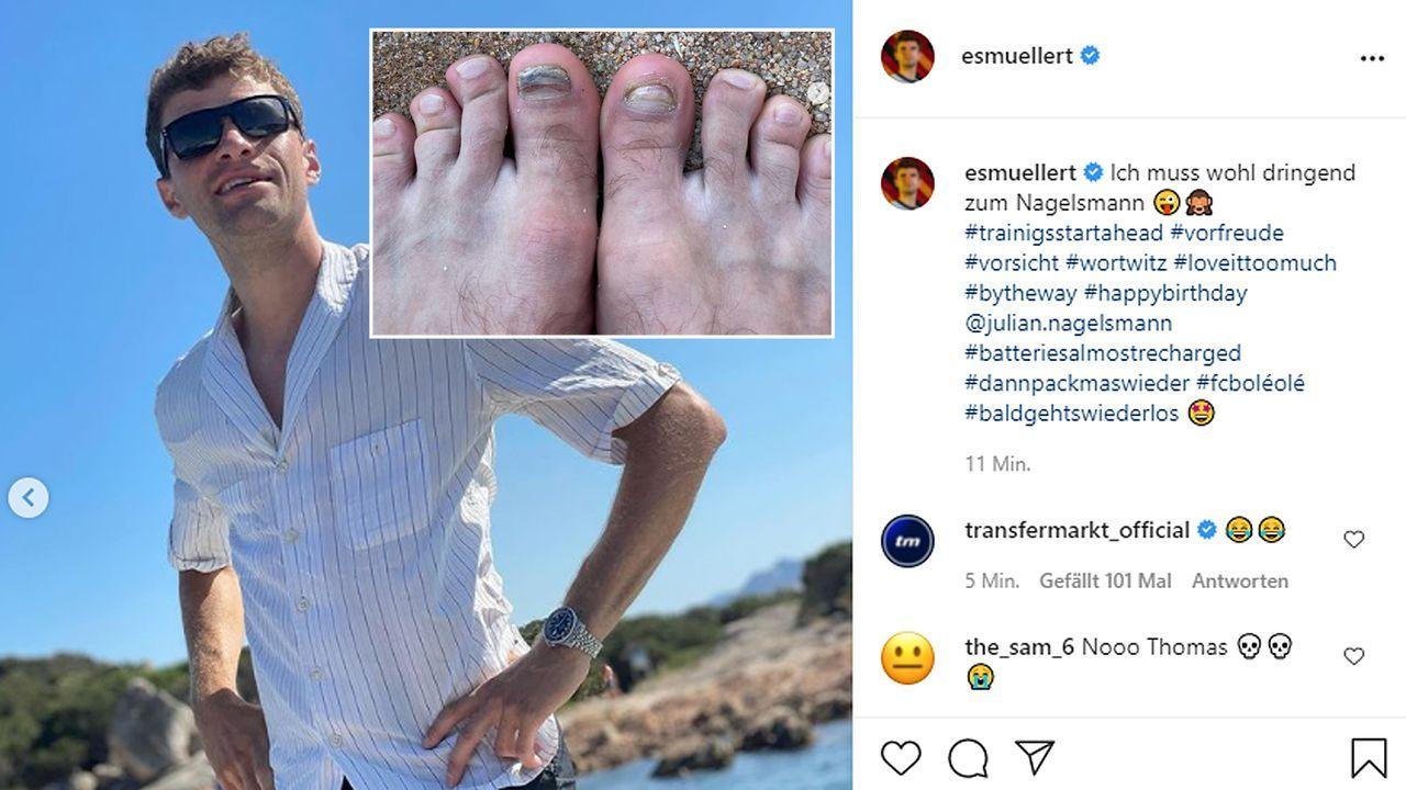 """Müller: """"Muss wohl dringend zum Nagelsmann"""" - Bildquelle: esmuellert/instagram"""
