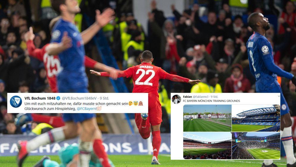 Nach dem 3:0 des FC Bayern München beim FC Chelsea konnte sich der VfL Bochu... - Bildquelle: imago / screenshots twitter @Fabiannv3 / @VfLBochum1848eV