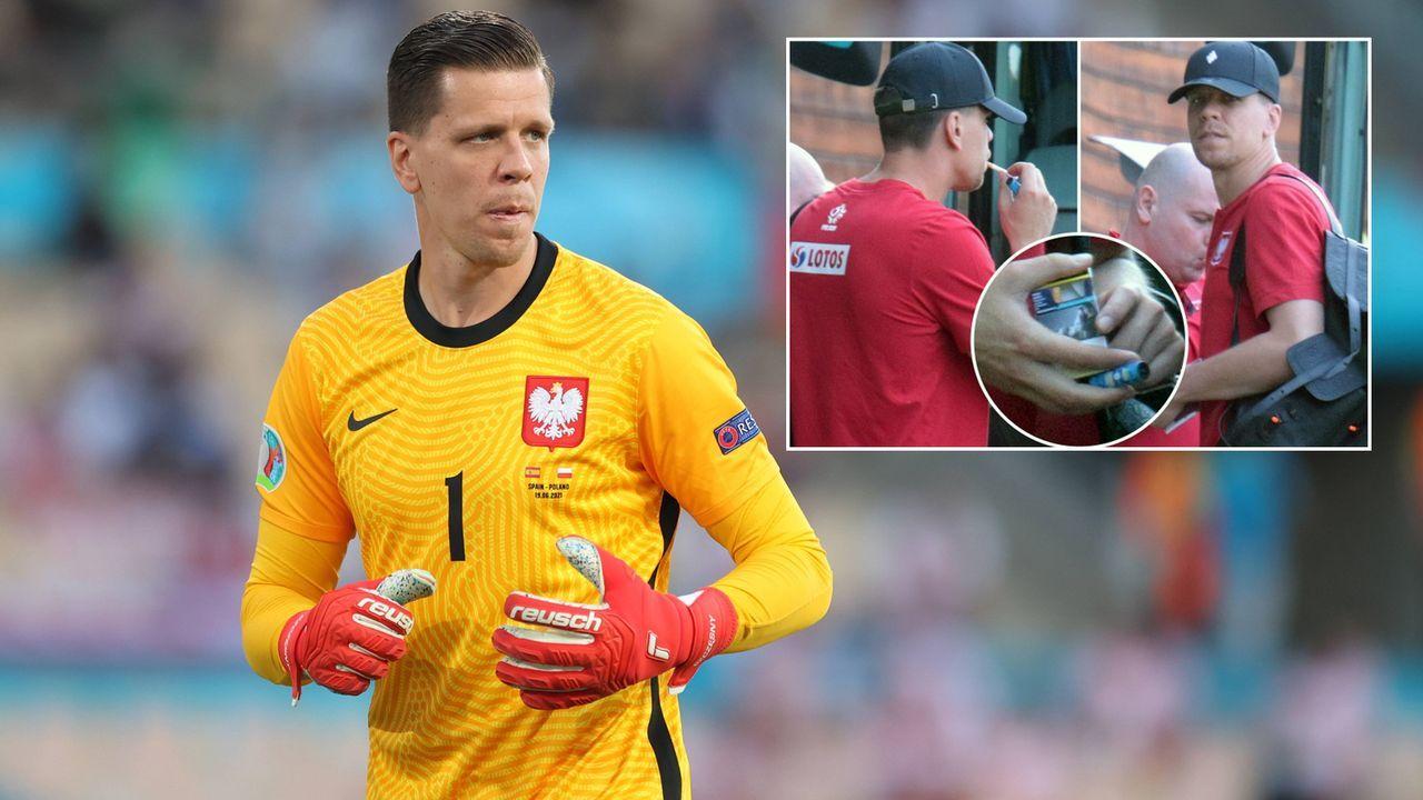 Vor EM-Spiel: Polens Keeper Wojciech Szczesny raucht erstmal eine - Bildquelle: Imago/twitter@footballiviera