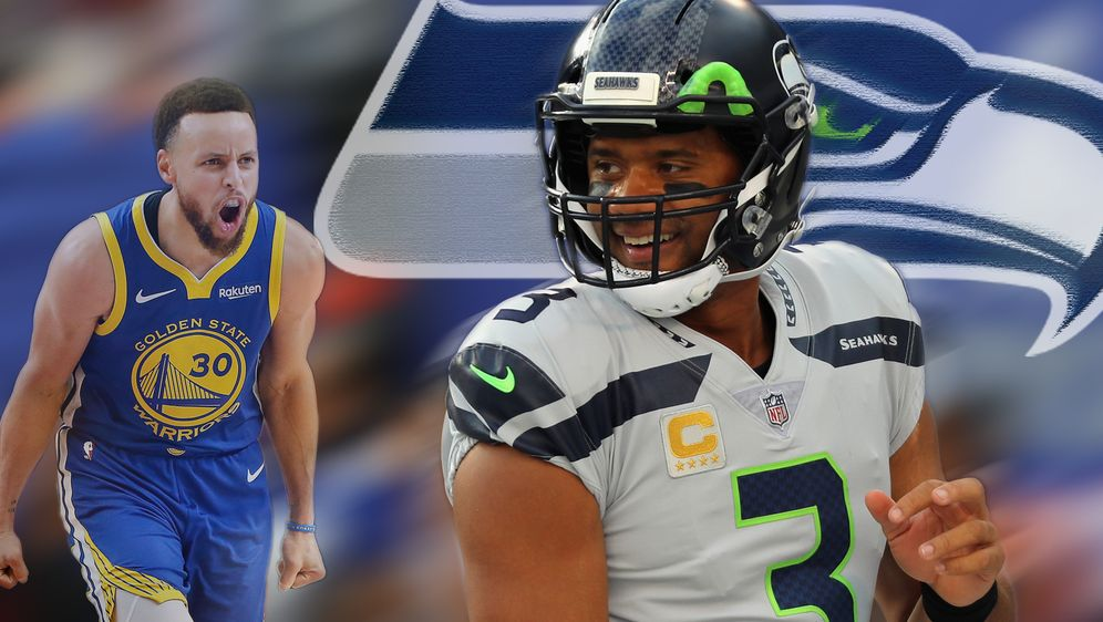Russell Wilson und NBA-Star Steph Curry - Bildquelle: Getty