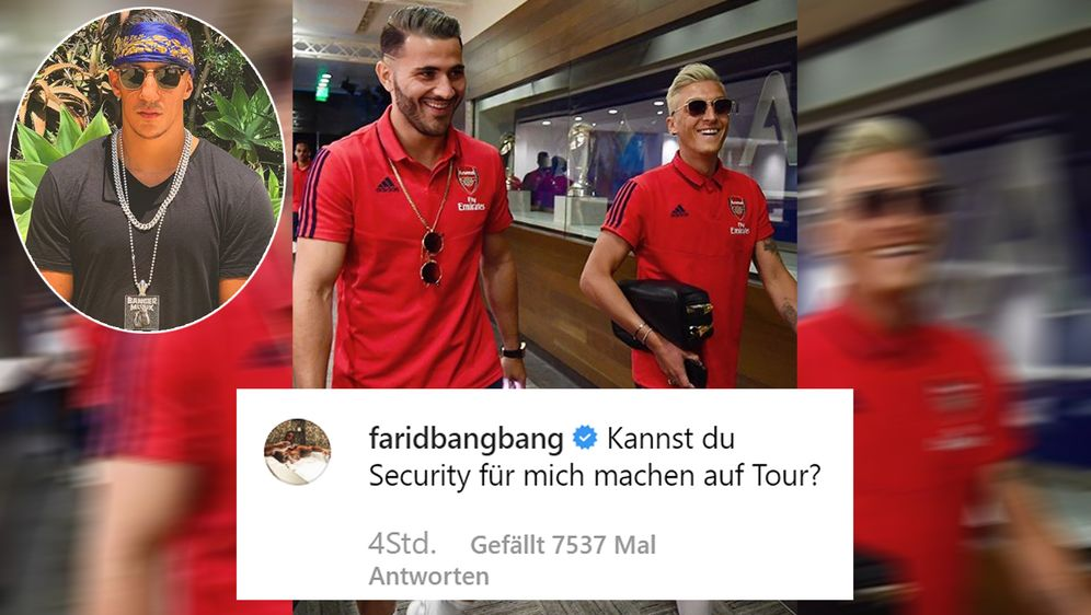 Wohl nicht ganz so serious: Farid Bang (li.) bot Sead Kolasinac (Mi.) einen ... - Bildquelle: faridbangbang@instagram/seadk6@instagram