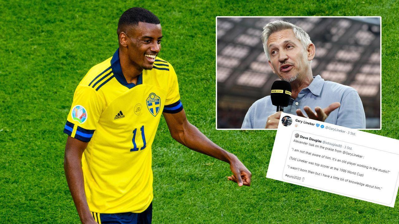 Schweden-Star Isak kennt Lineker nicht - Bildquelle: 2021 imago