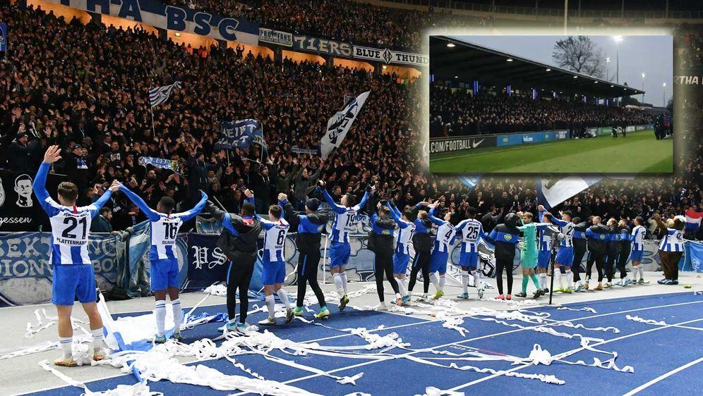 Die Hertha-Fans stimmen sich auf das Derby bei Union Berlin ein. - Bildquelle: imago images/Bernd König