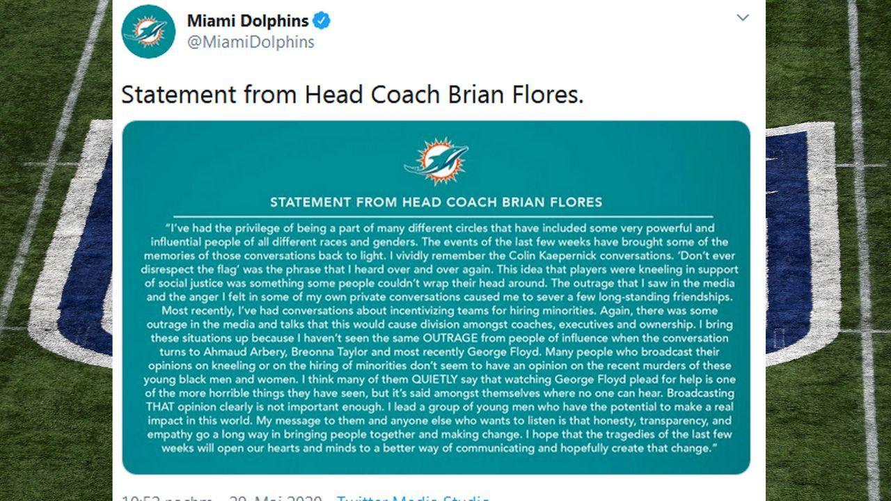 Brian Flores - Bildquelle: Twitter/@MiamiDolphins