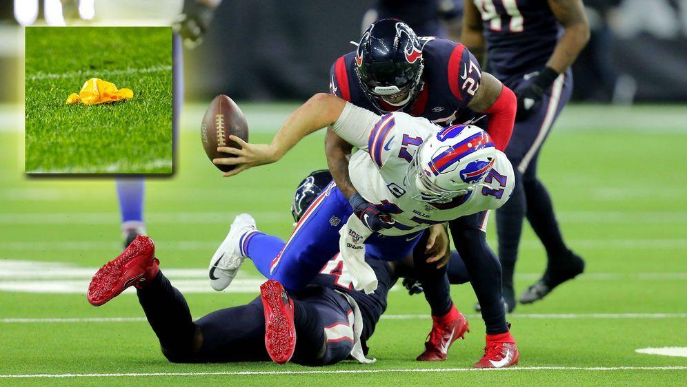 Die Szene, in der Bills-Quarterback Josh Allen den Ball zu Dawson Knox warf. - Bildquelle: imago images/ZUMA Press
