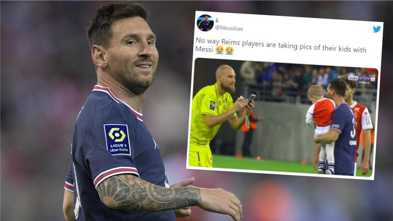 Reims-Torhüter bittet Messi um Foto mit eigenem Sohn - Bildquelle: Imago Images/Twitter:@Messilizer