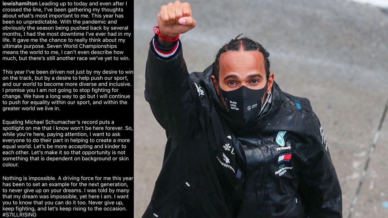 Lewis Hamilton richtet nach siebtem WM-Titel Bitte an Weltbevölkerung - Bildquelle: Getty Images, Twitter/@LewisHamilton